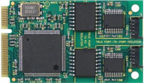 2-Port Isolated RS-485 PCI Express Mini Card with Wide Operating Temperature