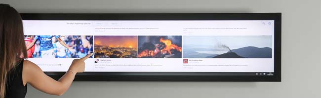 Stretched Display with Touchscreen Overlay