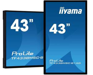"iiyama TF4338MSC-B1AG 43"" 12pt Open Frame touch monitor with edge-to-edge glass"