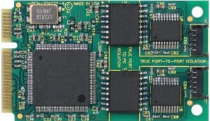4-port isolated RS-232 PCI Express Mini Card with industrial operating temperature