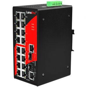 18 Port Industrial Ethernet Switch 16 x 10/100TX  2 x 10/100/1000T/SFP Ext Temp